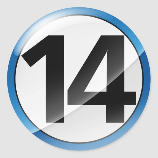 Pegatina del azul del número 14
