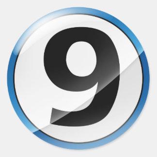 Pegatina del azul del número 9