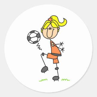 Pegatina del balón de fútbol del chica que hace