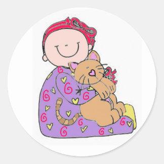 Pegatina del bebé y del gato