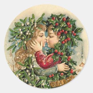 Pegatina del beso del navidad del vintage