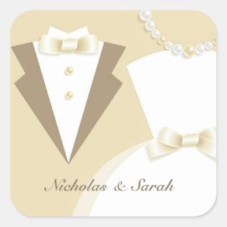 Pegatina del boda de novia y del novio