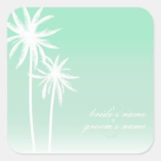 Pegatina del boda de playa de las palmeras de