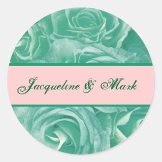 Pegatina del boda del círculo de los rosas de