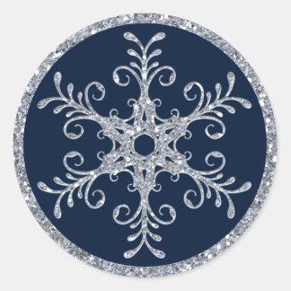 Pegatina del boda del copo de nieve de la MIRADA