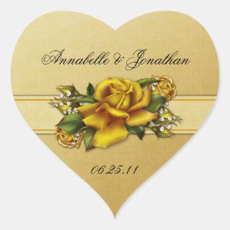 Pegatina del boda del corazón de los rosas