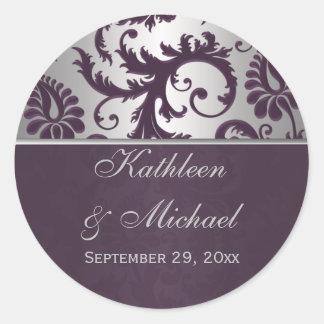 Pegatina del boda del damasco del gris púrpura y