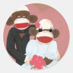 Pegatina del boda del mono del calcetín (Bowty y