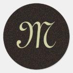 Pegatina del boda del monograma del pergamino del