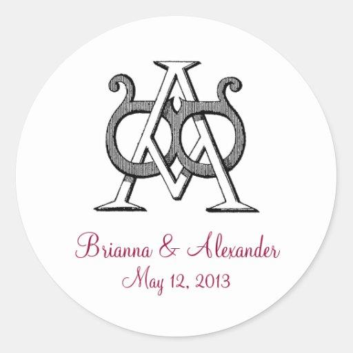 Pegatina del boda del monograma del vintage del AB