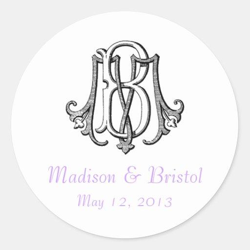 Pegatina del boda del monograma del vintage del BM