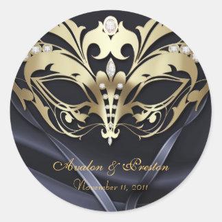 Pegatina del boda del negro de la mascarada del or
