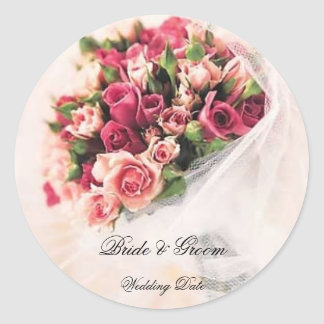 Pegatina del boda del ramo de los rosas
