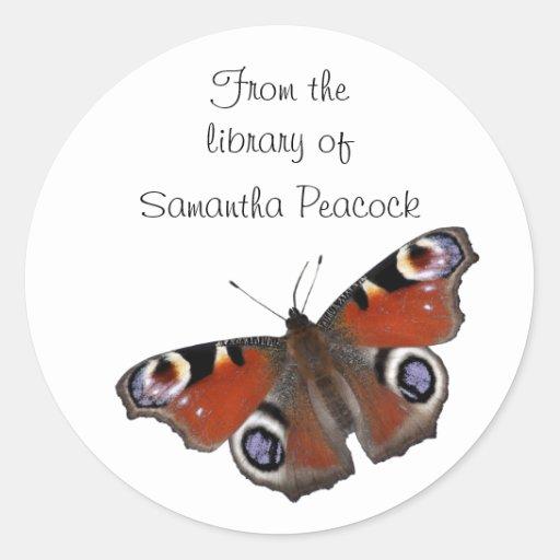 Pegatina del bookplate de la mariposa de pavo real