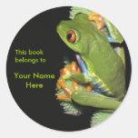 Pegatina del Bookplate de la rana verde