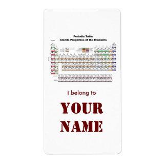 Pegatina del bookplate de la tabla periódica etiqueta de envío