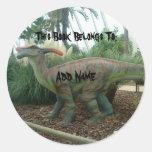 Pegatina del Bookplate del dinosaurio de