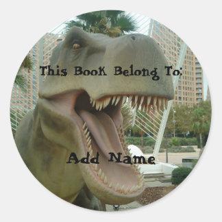 Pegatina del Bookplate del dinosaurio de T-Rex