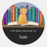 Pegatina del Bookplate del gato