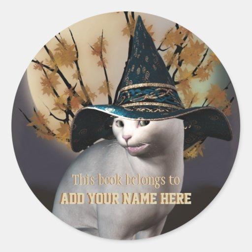 Pegatina del Bookplate del gato de las brujas