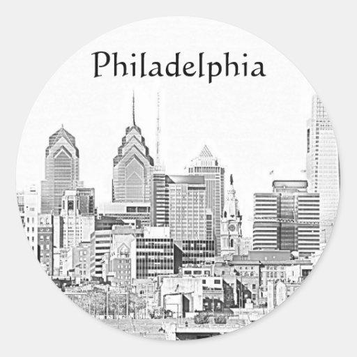 Pegatina del bosquejo de Philadelphia