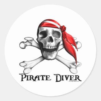 Pegatina del buceador del pirata