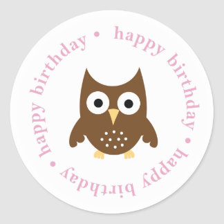 pegatina del búho del feliz cumpleaños