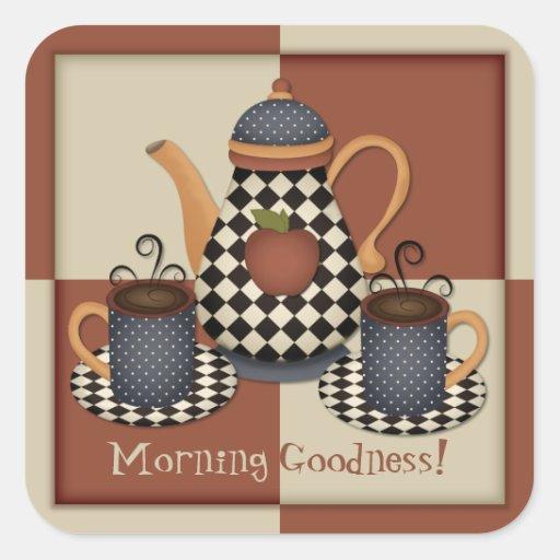 Pegatina del café de la calidad de la mañana