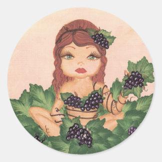 Pegatina del chica de la vid de uva de Quantum