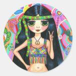 Pegatina del chica del Hippie del signo de la paz