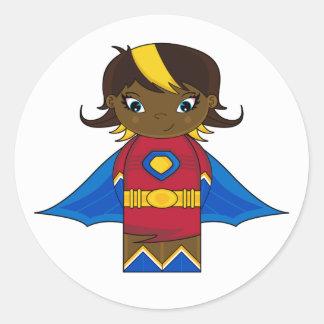 Pegatina del chica del super héroe