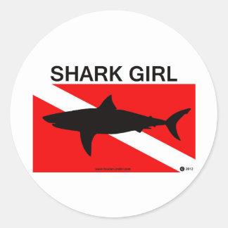 Pegatina del chica del tiburón
