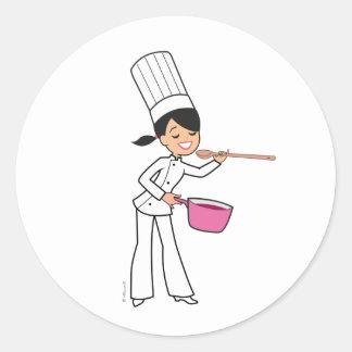 Pegatina del cocinero de las mujeres con el