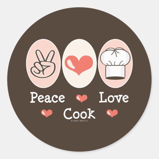 Pegatina del cocinero del amor de la paz
