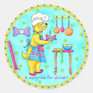 Pegatina del cocinero del perro