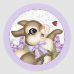 Pegatina del conejito de la lila