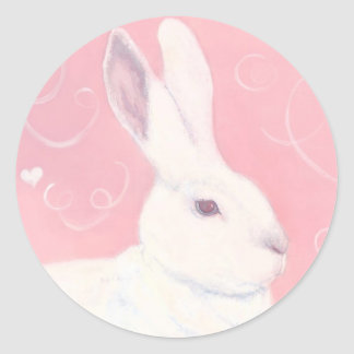 Pegatina del conejito de la tarjeta del día de San