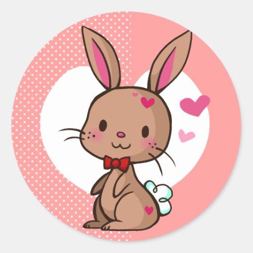 Pegatina del conejito del amor
