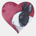 Pegatina del conejito del corazón