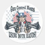 Pegatina del control de armas del tío Sam