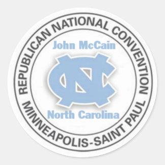 Pegatina del convenio de McCain NC RNC