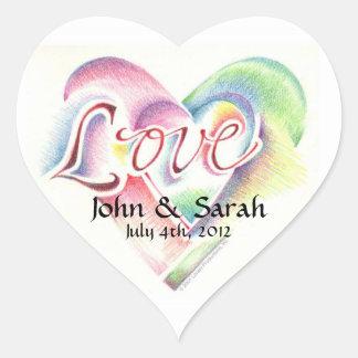Pegatina del corazón con las letras de amor