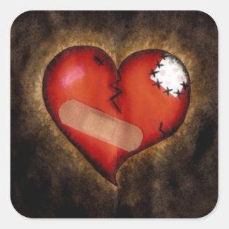 Pegatina del Corazón-cuadrado del corazón quebrado