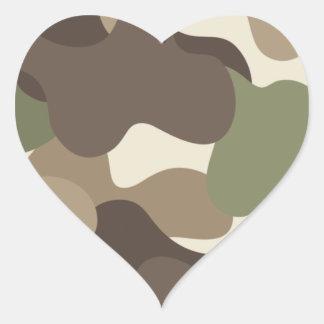 Pegatina del corazón de Camo del camuflaje