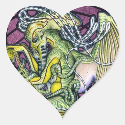 Pegatina del corazón de Cthulhu del pavor
