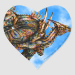 Pegatina del corazón de Dragongiant (color)