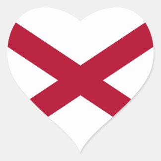 Pegatina del corazón de la bandera de Alabama