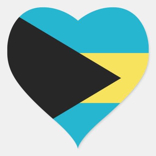 Pegatina del corazón de la bandera de Bahamas