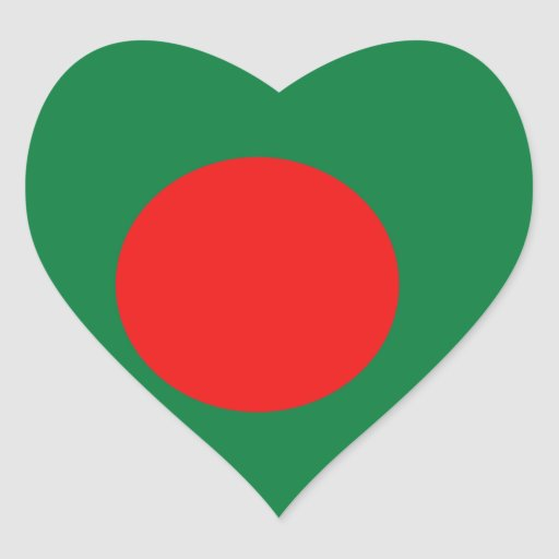 Pegatina del corazón de la bandera de Bangladesh