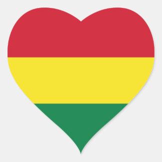 Pegatina del corazón de la bandera de Bolivia